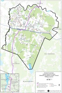 A Vermont Gas map shows the planned route for the pipeline for Williston.