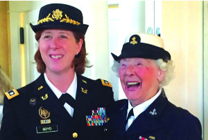 Observer courtesy photo Lt. Col. Judy Boyd, U.S. Army (left),  with honoree Jane McCauley, former Petty Officer 1st Class, U.S. Navy.