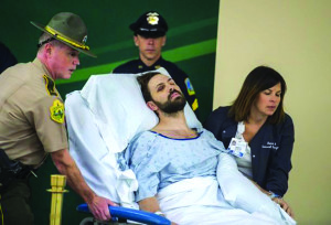 Observer photo courtesy Glenn Russell/The Burlington Free Press Steven Bourgoin is arraigned in a makeshift courtroom Oct. 14 at the University of Vermont Medical Center in Burlington.