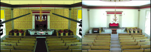 Observer renderings courtesy of Mark Hutchins A side-by side comparison of the Old Brick CHurch as it stands today (RIGHT), compared with how it was originally decorated (LEFT), complete with original wallpaper.