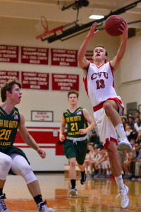 George Davis goes up for the layup during the CVU boys first round game versus Burr & Burton Academy at the Kevin Riell Memorial Tournament held at CVU on 30Dec16.