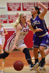 Jaime Vachon drives the lane during CVU's game versus Brattleboro on Thursday night the 22nd at CVU.