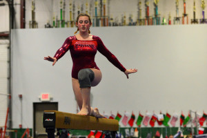 CVU's Emma Lieberman competes on the balance beam during the gymnastics meet in Williston with competitors from CVU, Middlebury and Montpelier on 21Dec16.