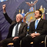 Photo courtesy of New York governor's office Sen. Bernie Sanders, I-Vt., gestures during an appearance with New York Gov. Andrew Cuomo at LaGuardia Community College in the Queens borough of New York on Tuesday morning.