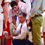 Coach Mike Osborne gives instructions to his troops durring CVU's game versus St Johnsbury Academy on Monday the 13th at CVU
