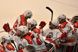 CVU celebrates Joey Parento's (#12) goal in the first period of CVU's game versus So Burlington on Saturday the 18th at Cairnes Arena.