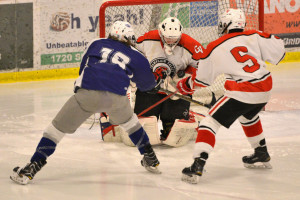 Ty Parker makes the save during CVU's game versus U-32 on Wednesday night the 1st of February.