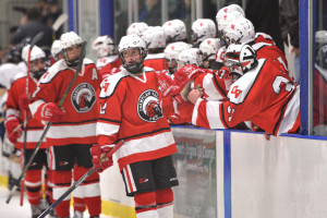 Joey Parento celebrates his goal with teammates during CVU's hockey game versus Essex at the Essex skating facility on Saturday the 28th.