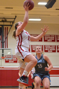 Marlee Gunn gets a fast break layup during CVU's game versus So Burlington on Friday the 10th.