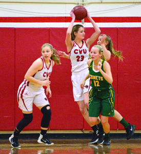 Shannoon Loiseau pulls down a defensive rebound during CVU's game vs BFA St Albans on Tuesday the 14th at CVU.