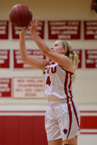 """Jaime Vachon puts up a """"threeee"""" during CVU's basketball game versus St Johnsbury on Thursday evening the 26th of January."""