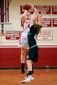 Abby Thut puts up a short jumper during CVU's basketball game versus St Johnsbury on Thursday evening the 26th of January.