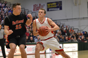 George Davis drives the lane during CVU's State Division 1 Championship game versus Rutland High on Monday the 13th.