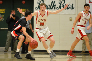Josh Bliss plays tough defense during CVU's State Division 1 Championship game versus Rutland High on Monday the 13th.