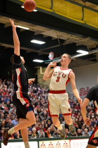 "Matt Spear puts up a ""floater"" during CVU's State Division 1 Championship game versus Rutland High on Monday the 13th."