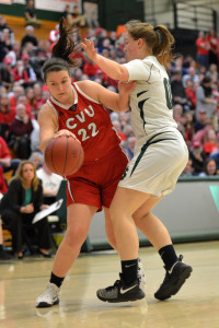 Senior Captain, Katie Usher starts her baseline drive during CVU's Division 1 Girls Basketball Championship game versus St. Johnsbury Academy on Saturday the 18th. CVU won it's fifth consecutive girls title.