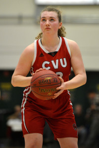 Senior Captain, Marlee Gunn lines up the first of her two critical free- throws during the final minute of CVU's Division 1 Girls Basketball Championship game versus St. Johnsbury Academy on Saturday the 18th. CVU won it's fifth consecutive girls title.