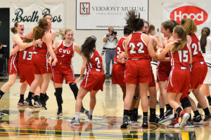 Let the celebration begin! The CVU girls win their fifth consecutive Division 1 Girls Basketball title on Satuday the 18th at UVM's Patrick Gym.