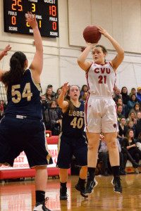 Abby Thut puts a short jumpshot during CVU's quarter final game versus Essex on Saturday the 11th in Hinesburg