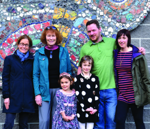 "The driving force behind the ""Floating Garden"" at Allen Brook School. (L to R) ABS art teacher, Sara Beeken, artist in residence, Sally Duback, Fiona (5), Evelyn (8), Williston photographer, Andy Duback, and Alison Duback.Sally's work includes printings, paintings and sculpture."