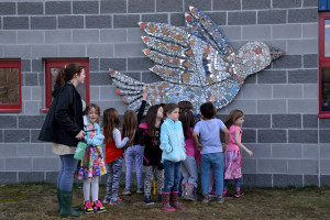 "The students admire their work during the ""Floating Garden"" celebration at Allen Brook School on Wednesday April 12th."