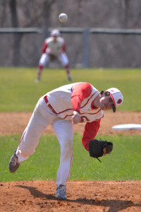 Hunter Anderson hurled a complete game shutout for the CVU Redhawks vs Rutland on Saturday morning the 15th