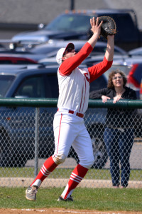 Chris O'Brien settles under a pop-up to help the CVU Redhawks tough out a 1-0 win over Rutland on Saturday the 15th.