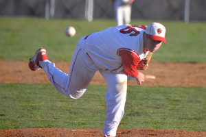 Kyle Rivers pitches in relief of Liam Reiner during CVU's game with Colchester in Hinesburg on Tuesday the 18th.