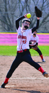 Hattie Roberts pitched her Redhawk team to an 8-7 win over Rutland on Saturday the 15th in Hinesburg.