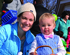 Observer photo by Al Frey Monty Devitt (1-1//2) with Mom, Katie,  decided on formal attire for the Williston/Richmond Rotary Easter Egg hunt on Saturday morning the 15th