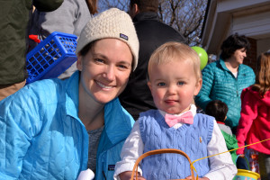 Monty Devitt (1-1//2) with Mom, Katie,  decided on formal attire for the Williston/Richmond Rotary Easter Egg hunt on Saturday morning the 15th