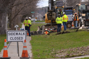 Crews repair a water line leak in front of the Old Brick Tavern on Route 2 in Williston onWednesday morning the 19th.