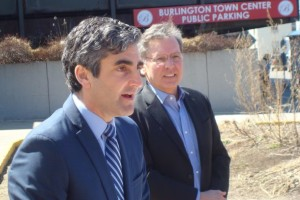 Burlington Mayor Miro Weinberger, left, and businessman Don Sinex announce a $225 million plan to redevelop downtown Burlington. File photo by Cory Dawson/VTDigger