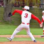 Hunter Anderson delivers the pitch during CVU's game versus Mount Mansfield on Thursday, May 4th in Hinesburg