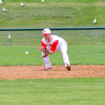 Collin Vincent makes a play at shortstop during CVU's game versus Mount Mansfield on Thursday, May 4th in Hinesburg.