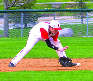 Tyler Skaflestad settles behind the final ground ball out during CVU's game versus St Johnsbury on Saturday the 29th in Hinesburg