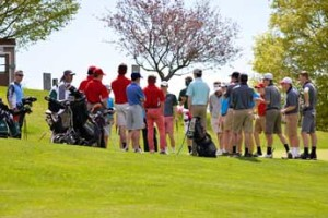 CVU, Rice, Essex and South Burlington boys golf teams gather at the first tee for their tournament at Cedar Knoll on May 12.