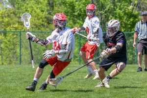 Will Braun makes a break for the front of the net during CVU's game versus Middlebury on Saturday the 20th in Hinesburg.