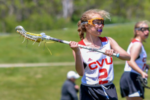 Hannah Bernier makes the pass during CVU's game versus Rice High School on Saturday May 20th in Hinesburg.