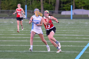 Fiona Love gets by her defender during CVU's game versus So Burlington on Friday evening the 19th in So Burlington.