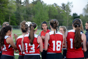 Coach Pierson talks to her troups during CVU's game versus So Burlington on Friday evening the 19th in So Burlington.