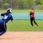 Josi Sinopoli makes the catch during CVU's game with Essex on Saturday the 13th in Essex