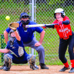 Shayla Lawrence fouls off a bunt attempt during CVU's game with Essex on Saturday the 13th in Essex