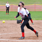 Hattie Roberts pitched a complete game win versus Mount Mansfield on Thursday, May 4th in Hinesburg.