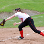 Raymona Silverman makes a terrific play down the third base line during CVU's game versus Mount Mansfield on Thursday, May 4th in Hinesburg.