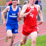 Tyler Marshall runs away with a win in the boys 800 meter on Wednesday the 10th in Hinesburg