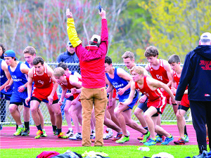 The start of the bpys 1,500 meter run on Wednesday the 10th in Hinesburg