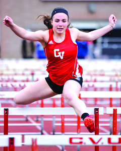 Lauren Johnson competes in the 100 meter hurdles on Wednesday the 10th in Hinesburg
