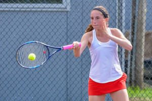 Kendall Blanck rips a forehand return in her match with South Burlington's Ella Dunkiel during the girls D1 tennis championship in Shelburne on June 9th. Kendall won the match 6-2, 6-1