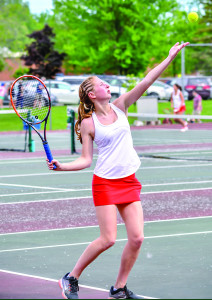 Sophie Dauerman lines up the serve in her match with South Burlington's Kailey Yang during the girls D1 tennis championship in Shelburne on June 9th. Sophie won the close match 7-6, 7-5